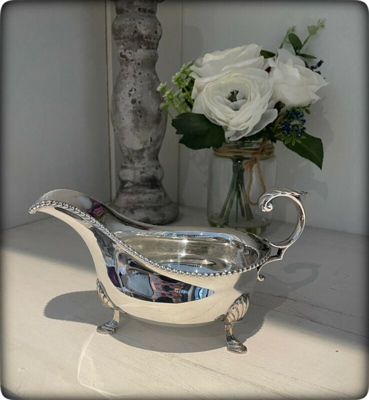 Quality Vintage Silver Plated Sauce Boat by Maple & Co.