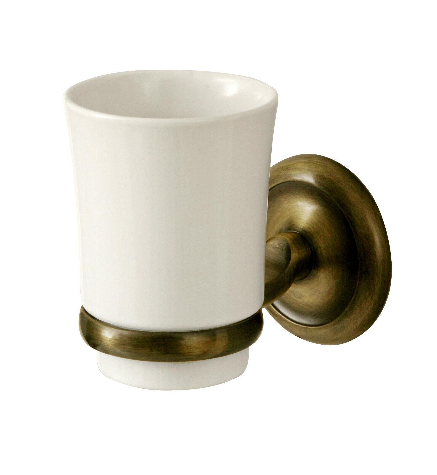APROVIO Zahnputzbecher mit Halter, Zahnbürstenhalter| Keramik,Messing-Antikgold