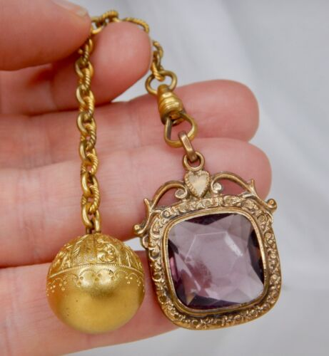 Antique Gold Filled Amethyst and GF Ball Fob Pendant - 83948