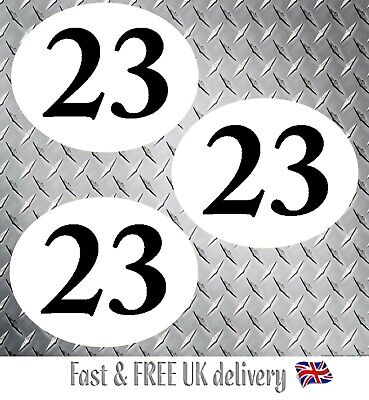 Classic Car Oval Race Numbers - Decals /Stickers self adhesive vinyl x 3 - (WB)