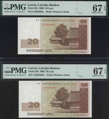 Latvia 20 Latu 2009 P 55b PMG 67 EPQ - 2 CONSECUTIVE NOTES