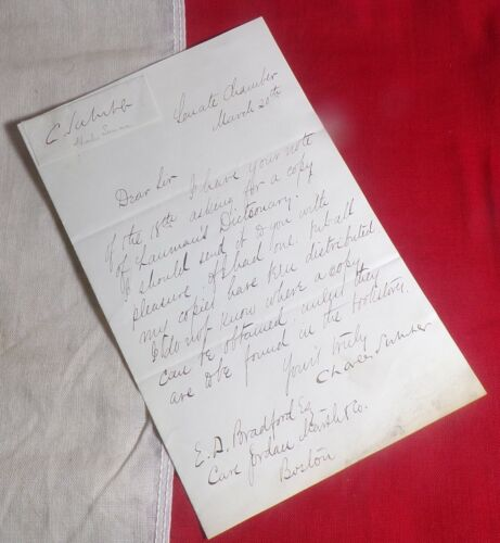 SENATOR CHARLES SUMNER (1811-74) LETTER WITH SIGNATURE FROM SENATE CHAMBER