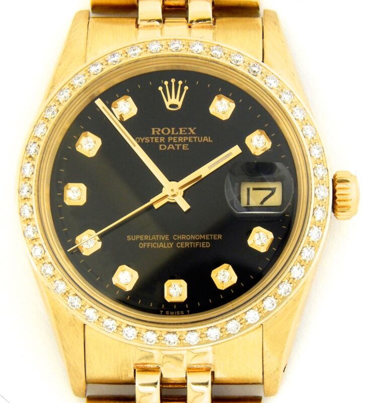 Rolex Date Mens 15037 Solid 14k Yellow Gold Watch Black Diamond Dial & Bezel