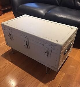Antique Trunk- White Shabby Chic- Coffee Table