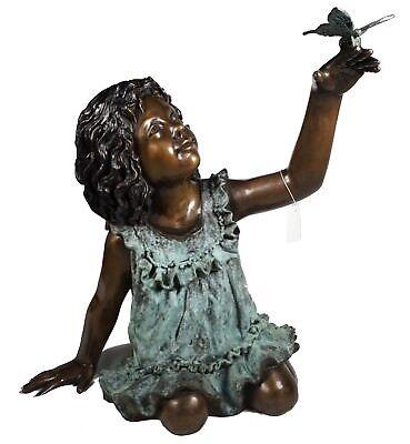 Design Toscano Schmetterling Mädchen Garten Statue Bronze Guss Lost Wax Deko ()