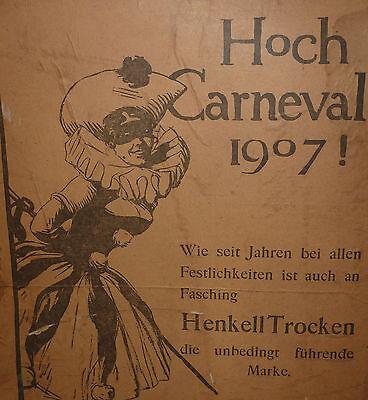 Karneval Köln Pappschild Carneval 1907 Henkell Trocken Sekt Reklame Schild RAR