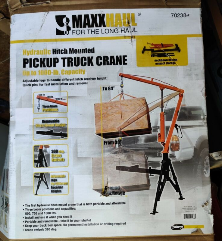 MaxxHaul 70238 Hitch Mount Hydraulic Crane Portable And Removable Durable
