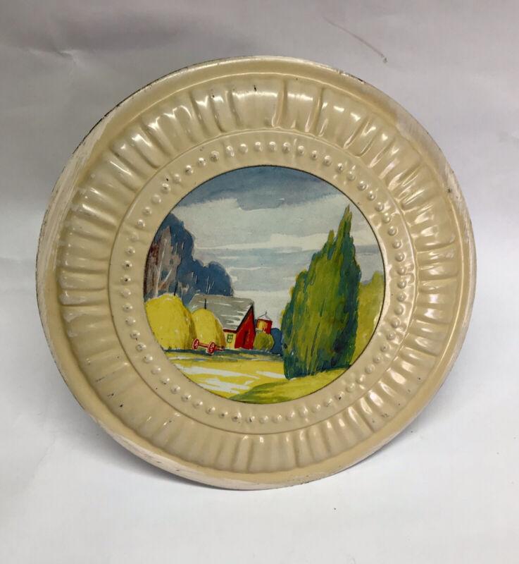 "Vintage JL CLARK 8"" GEM FLUE STOPPER - Ivory, Tin Lithograph Picture Barn Tree"