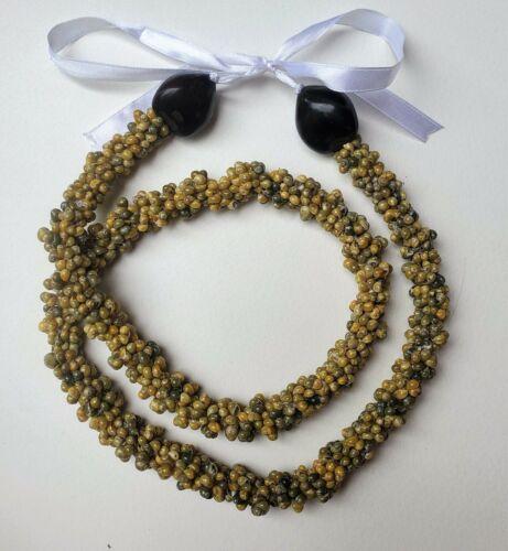 Hawaii Wedding Mongo Shell with Kukui Nut Lei Necklace GREEN