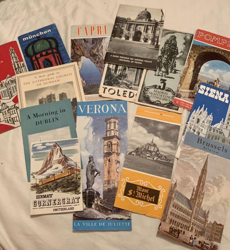 Set Of 14 Vintage European Travel Brochures 1950s