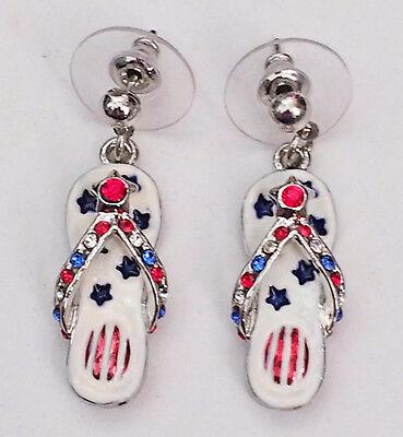 USA Patriotic Flip Flop Earrings Post Rhinestone Red White Blue Enamel Gift Box ()
