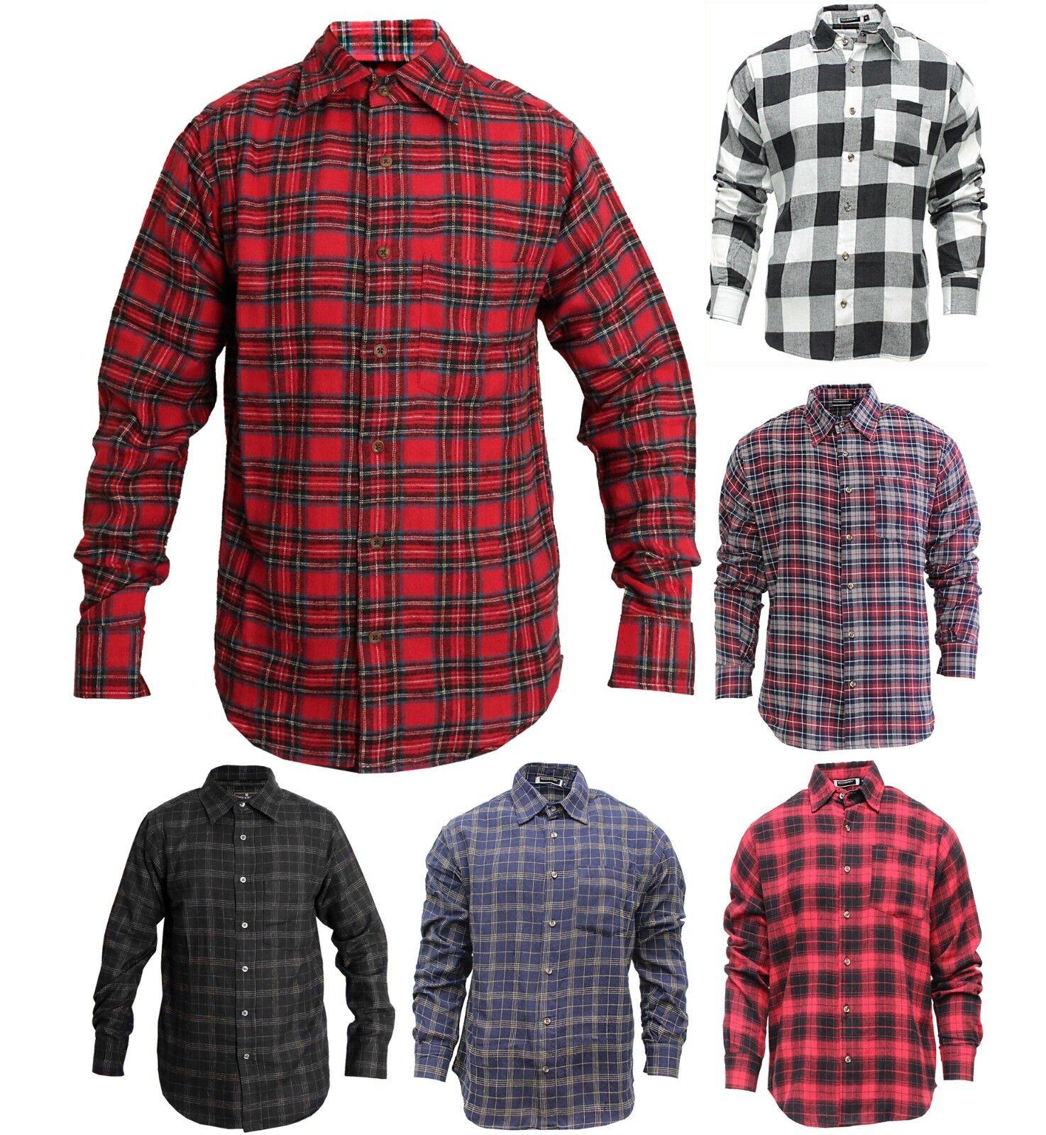 Uomo Plaid flanella Lumberjack SCOZZESE Camicia a quadri cotone spazzolato