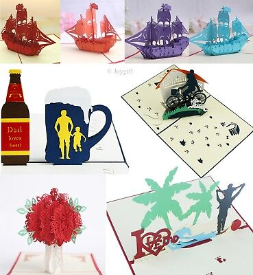 3D Pop Up Greeting Cards Happy Birthday Love Gift Holiday Invitations (Holiday Invitations)
