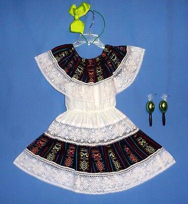 Mexican dress-girls-2-4-Cinco de Mayo costume-peasant-hair bow-2 maracas-LOT-4 - Cinco De Mayo Girl Kostüme