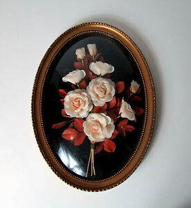 Cadre-ovale-verre-bombe-fleurs-sechees-Vintage-42cm