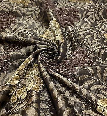 "SAMUEL SIMPSON ""MALHAM FLORAL"" LUXURIOUS BROWN CHENILLE FABRIC 2.5 METRES"