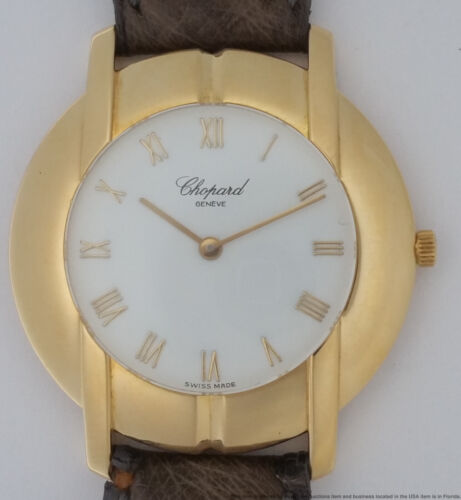 Wide Heavy 18k Gold Mens Chopard Working Wrist Watch - watch picture 1