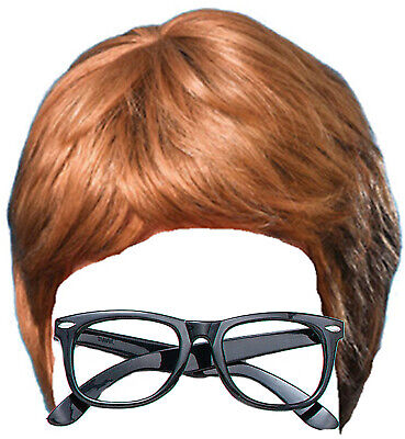 Austin Powers 60s Fancy Dress Costume Kit Inc Brown Wig and Black Glasses - Austin Powers Wig