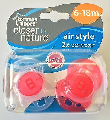 Tommee Tippee Closer to Nature Air-Style 6-18m Soothers Red