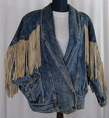Vtg Leather Fringe Jean Jacket Stonewashed 1980s Western Boho Rocker Size L