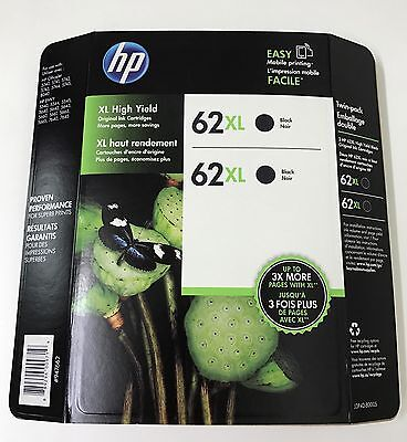 HP Genuine 62XL Black Twin Pack of Ink Cartridges in Retail Box EXP. 1/2018