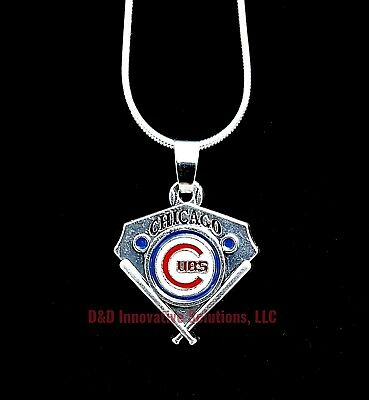 Chicago Cubs MLB Sterling Silver Necklace Chain Pendant Baseball Plate 24