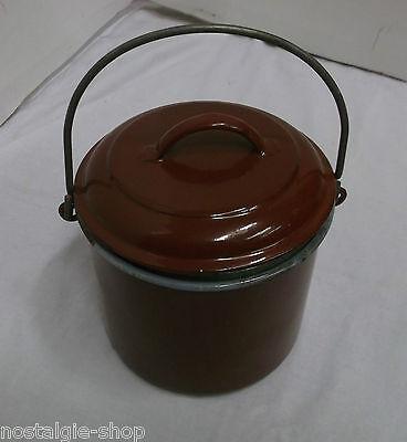 old enamel with Handle ochsenblutfarbe Vintage