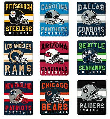 "NFL Teams Singular Design Large Soft Fleece Throw Blanket 50"" X 60"""