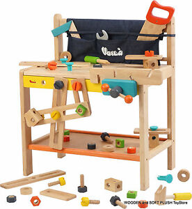 Voila Toy Children 39 S Gift Carpenters Large Wooden Workbench With Play Tools New Ebay