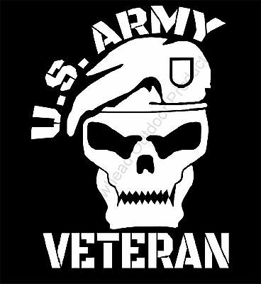 U.S. Army Veteran Skull Vinyl Decal Sticker Car Truck Window ()