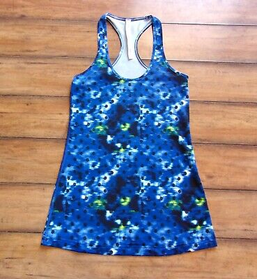LULULEMON ~ Size 6 ~ Blue Sapphire WINDY BLOOMS Dots Cool Racerback Yoga Tank