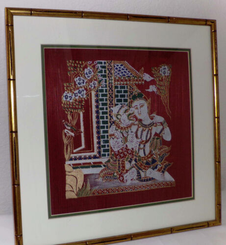 Vintage Hand Painted Silk Artwork Thai Lovers Gods Goddesses Framed Wall Decor