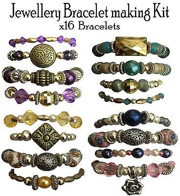 x16 Bracelet Beads Jewellery Making Kit Gift Set