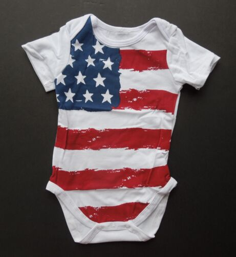 USA American Flag 4th July White Cotton Baby One Piece Body Suit 3-18 Months NWT