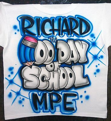 Airbrushed Personalized Name 100 th Day of School T-Shirt Sizes 2T - 3XL - 100 Day Of School
