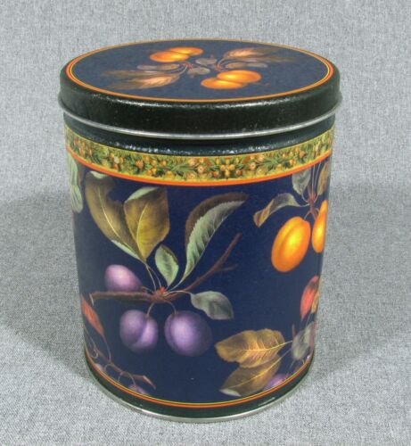 "VINTAGE BEAUTIFUL FRUIT ROUND CANDY/NUT TIN / 6.25"" TALL X 5"" DIAMETER / EMPTY"