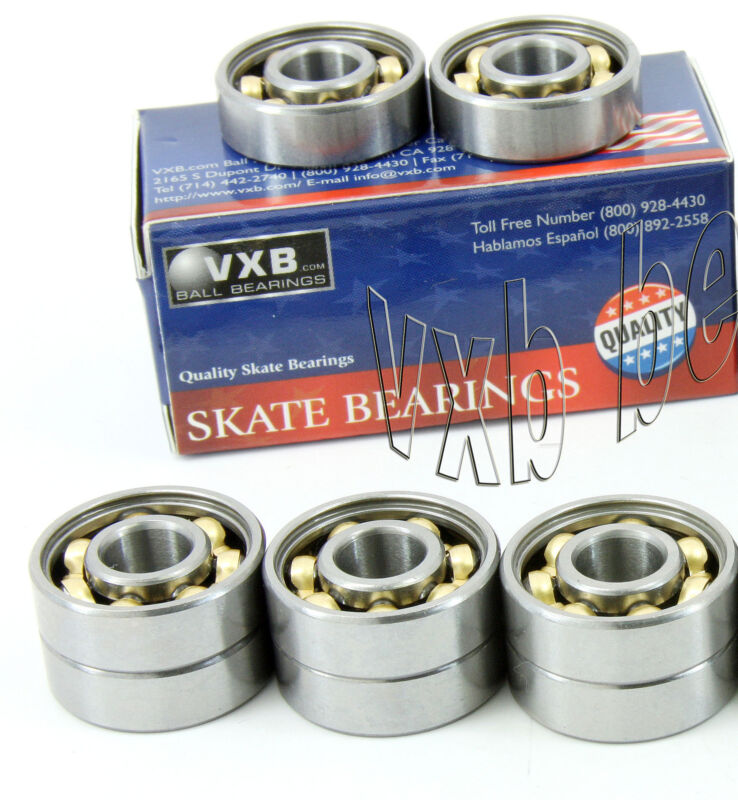 Pack of 8 Scooter Premium Open Ball Bearings with Low Friction Bronze Cage
