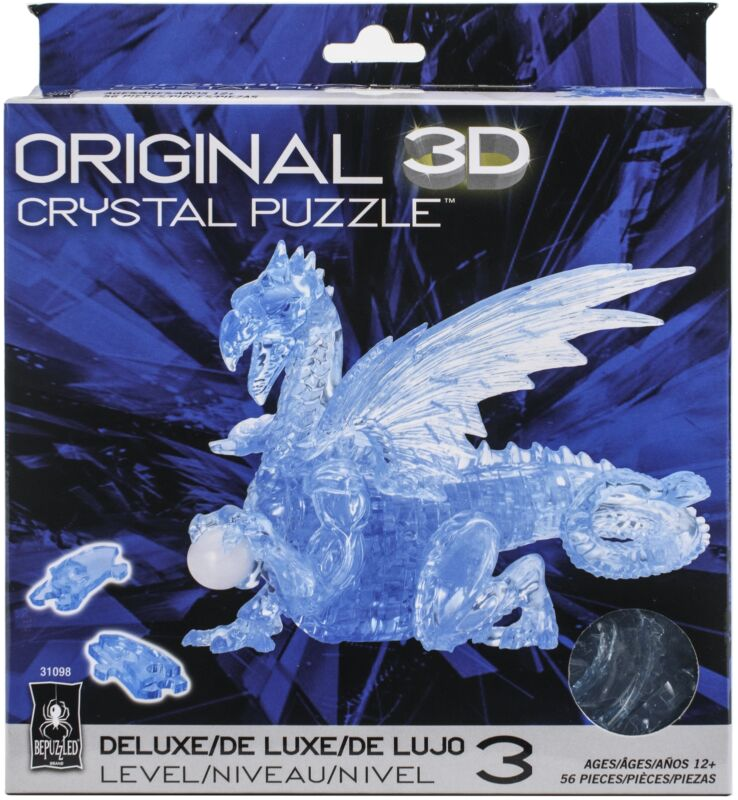 University Games 3-D Licensed Crystal Puzzle -Blue Dragon