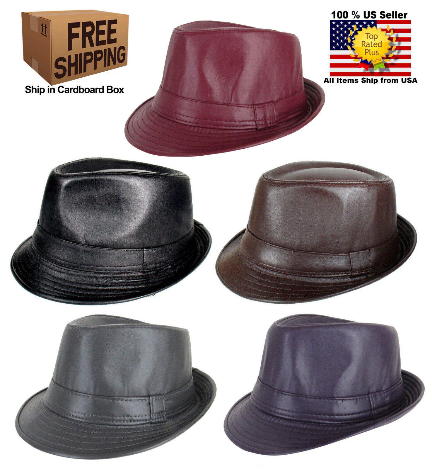 MEN WOMEN FAUX LEATHER FEDORA TRILBY CUBAN STYLE UPTURN SHORT BRIM CAP HAT Clothing, Shoes & Accessories