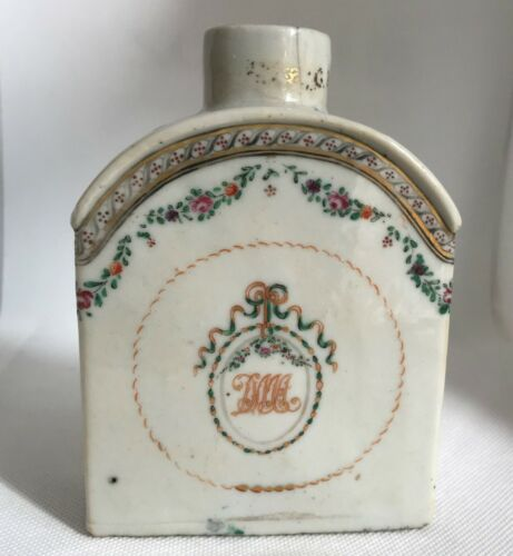 Chinese Export Porcelain Tea Caddy. 18th Century. Monogrammed.