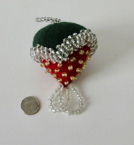 Traditional smaller Strawberry Mohawk Pincushion: Bead, wool,  P St John, Mohawk