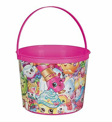 Shopkins Childrens Birthday Party Pink Plastic Loot Treat Favor Bucket - Pink Plastic Bucket