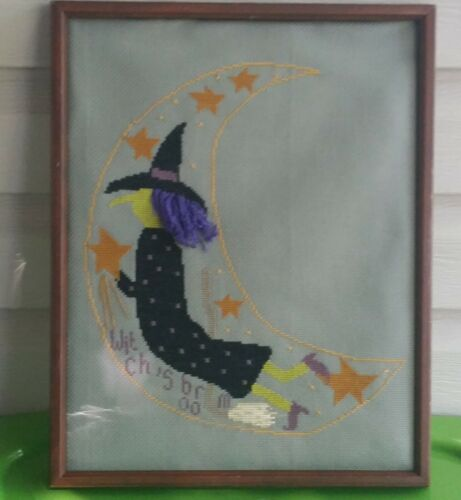 Finished Completed Fall Halloween Witch Framed Cross Stitch 12 x 15