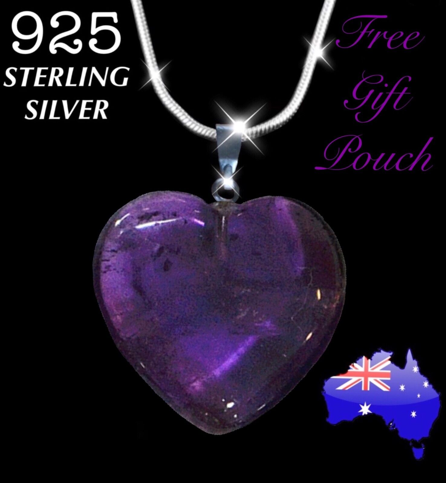 Jewellery - Amethyst Quartz Natural Crystal Heart Pendant 925 Sterling Silver Necklace Gift