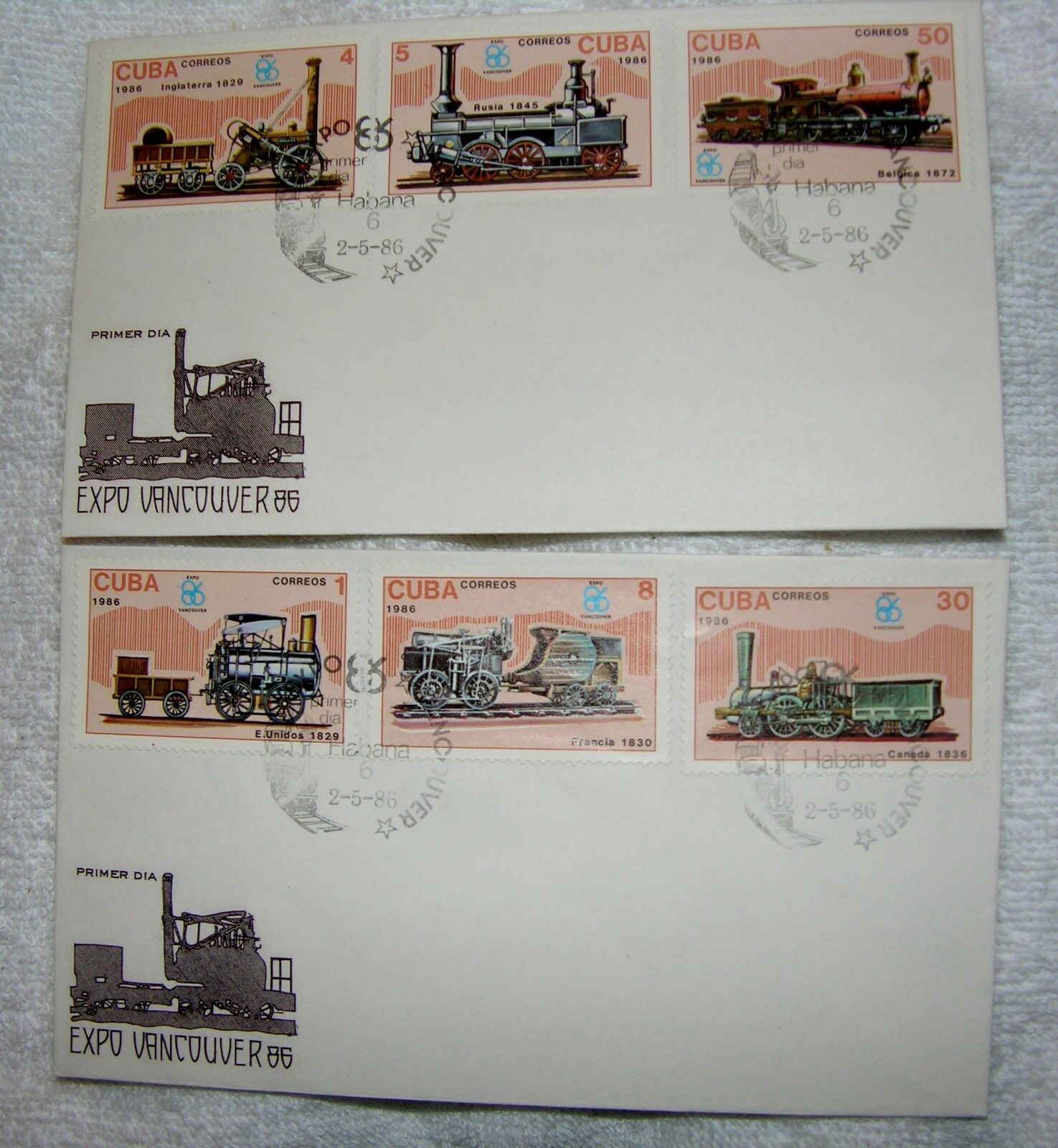 FIRST DAY OF ISSUE 2 Envelopes 6 Stamps Railroad Expo Vancouver 86 - $7.90