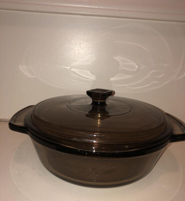 "Anchor Ovenware 1.5 Qt Amber Glass Baking Dish Casserole with Square Knob 8.25"""