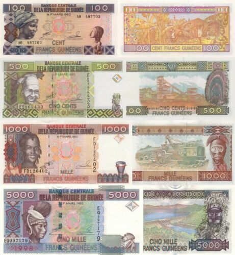 Guinea 4 Note Set: 100 to 5000 Francs (1998) - p-35a,p-36,p-37,p-38 UNC