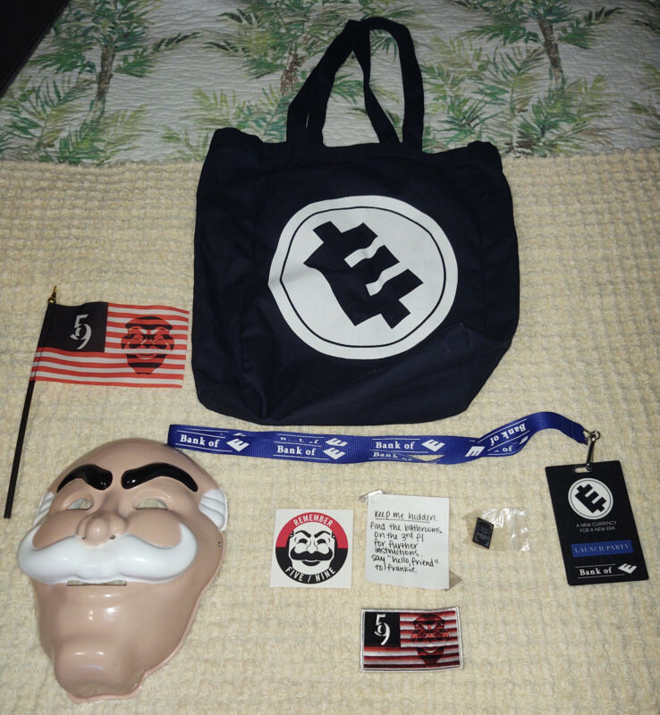 Mr. Robot Official USA Launch Party Swag Bag Mask 5/9 Flag Patch Bank of E corp