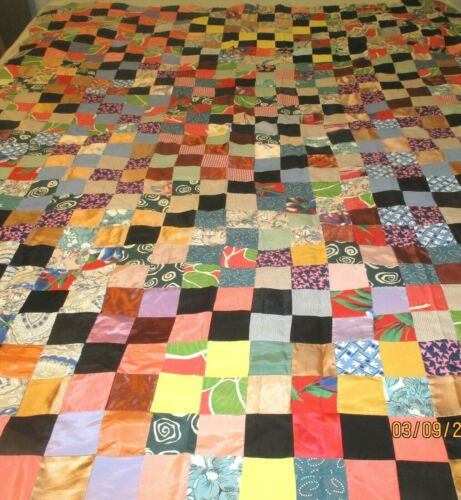 Vintage Patchwork Quilt Top -  72 inch by 54 inch~~ Silky type fabric