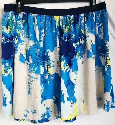 Joe Fresh JCPenney Women's Mini Skirt Size XL White Blue & Yellow Paint Splash (Jcpenney Skirts)